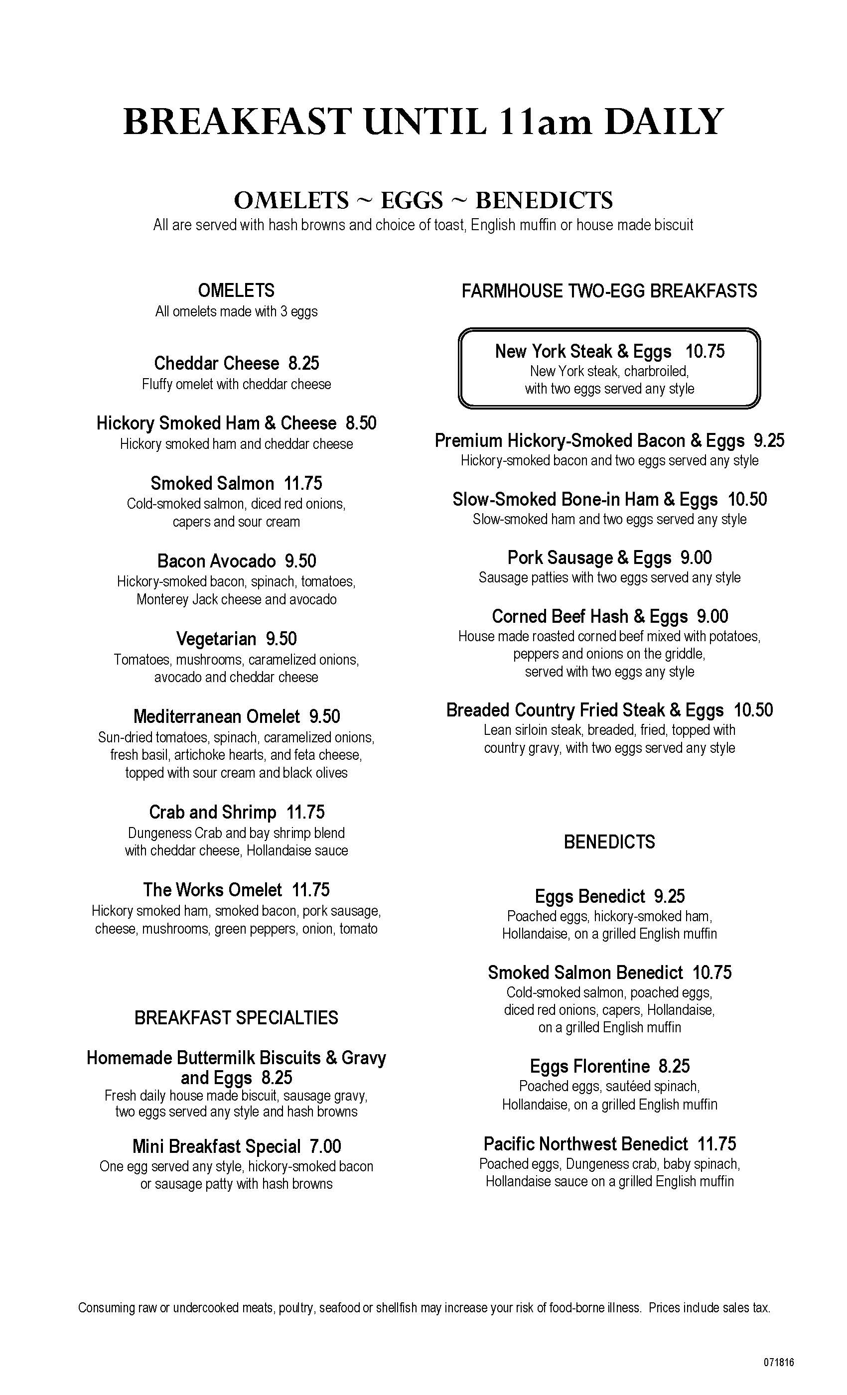 Clearwater Casino Beach Glass Cafe Menu Page One