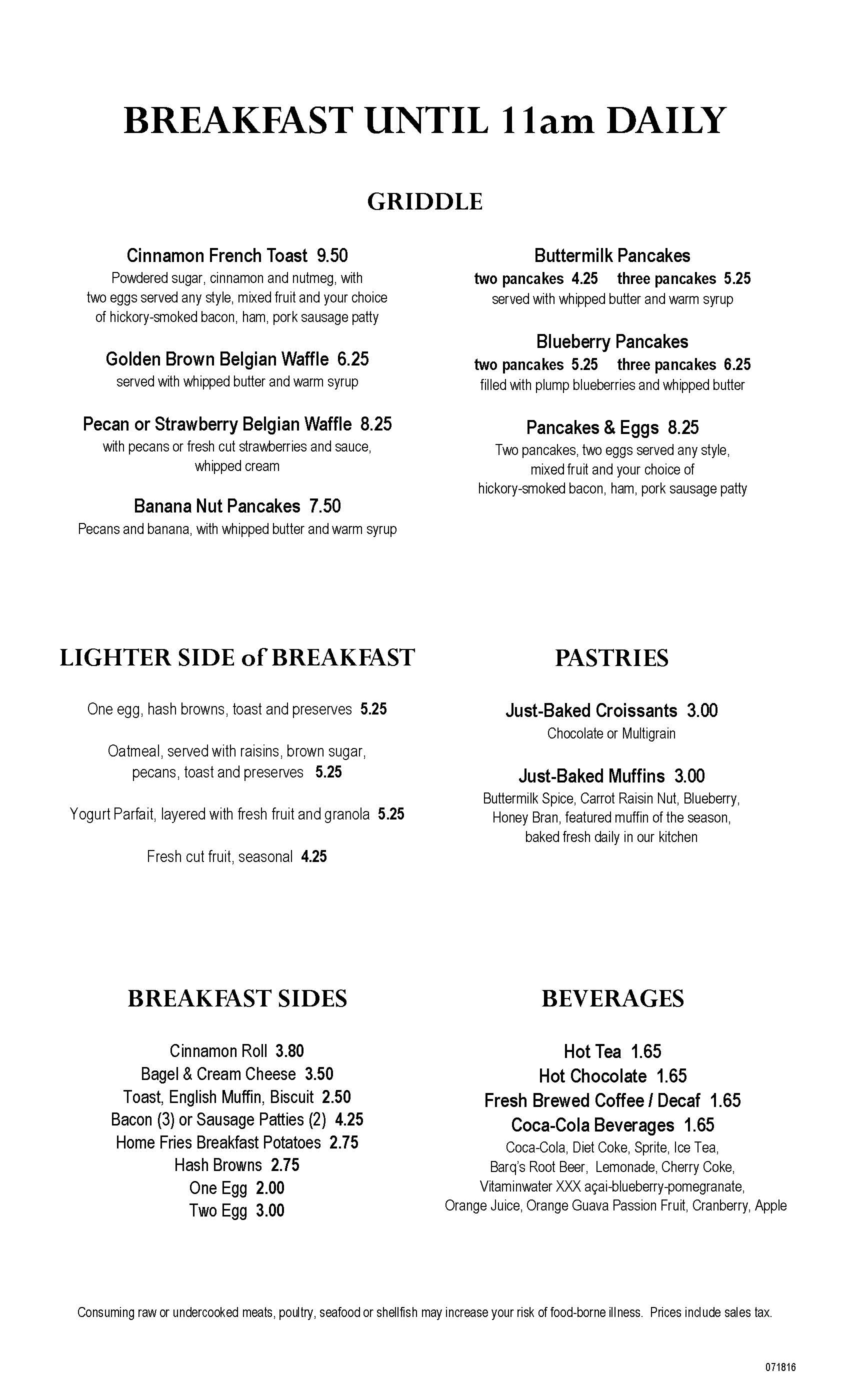 Clearwater Casino Beach Glass Cafe Menu Page Two