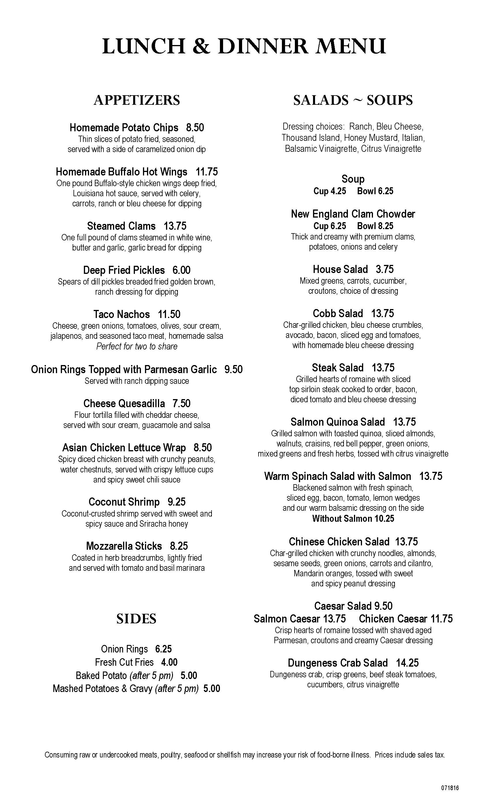 Clearwater Casino Beach Glass Cafe Menu Page Three