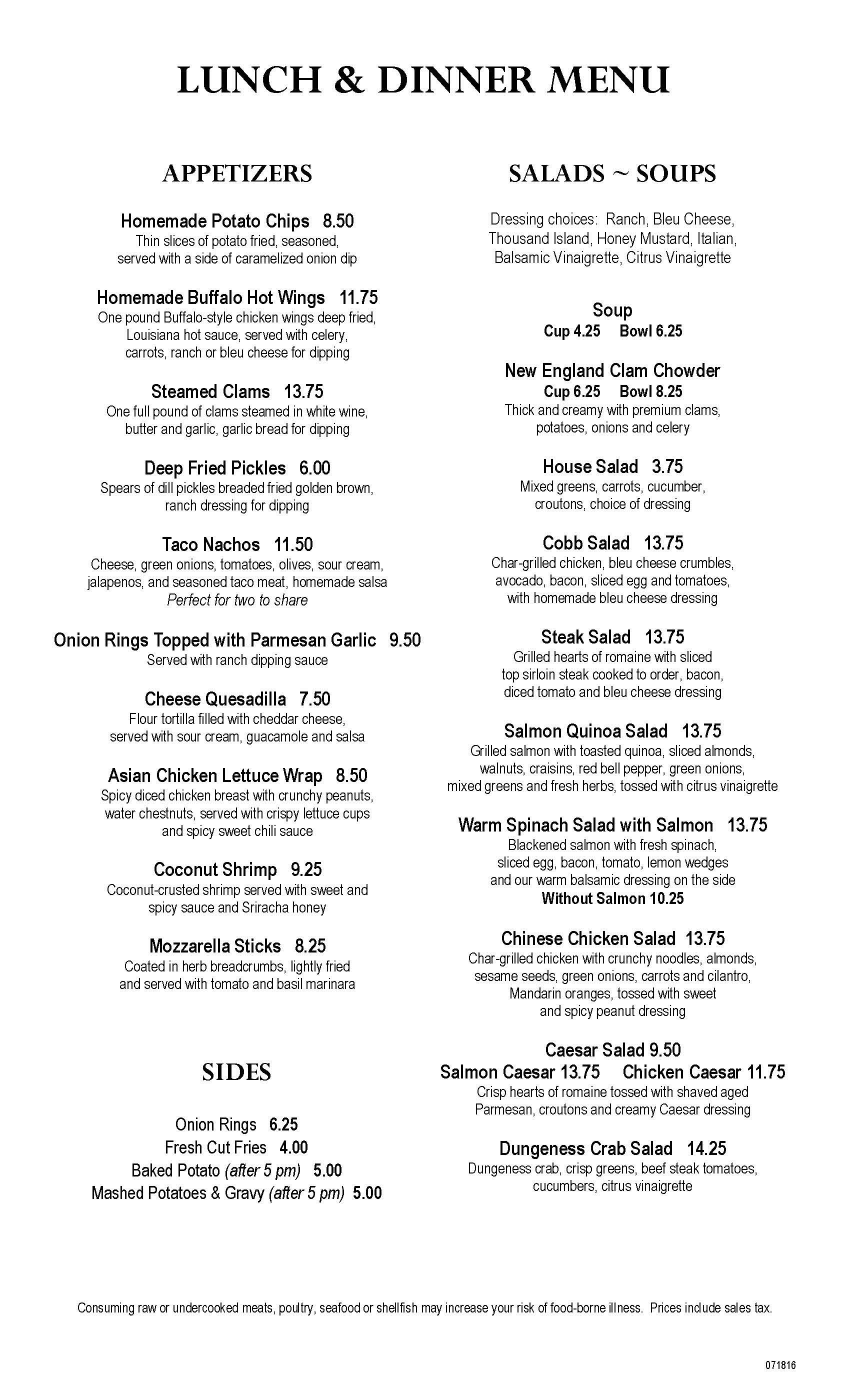 Clearwater Casino Beach Glass Cafe Menu Page Three