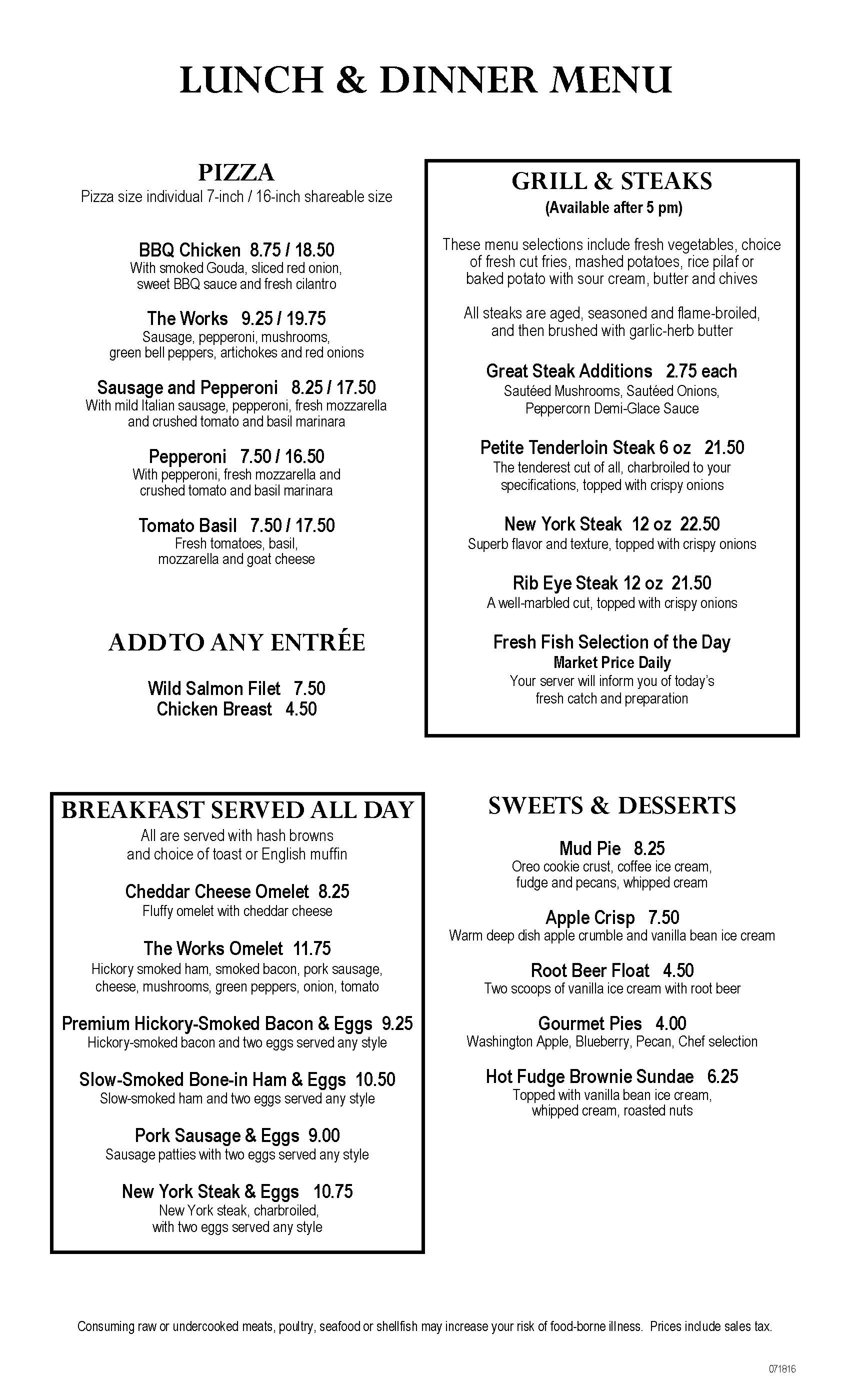 Clearwater Casino Beach Glass Cafe Menu Page Five