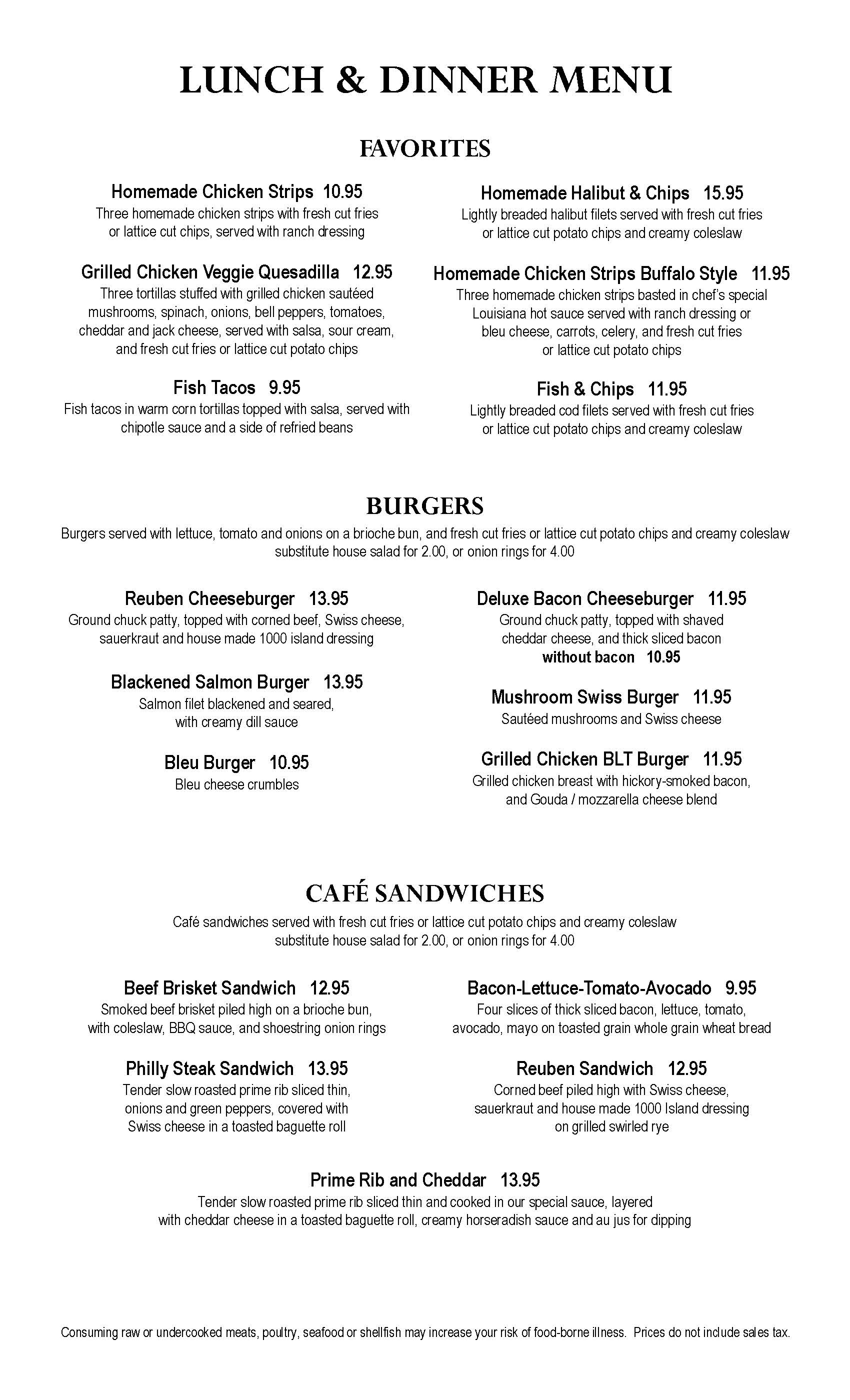 Clearwater Casino Beach Glass Cafe Menu Page Four