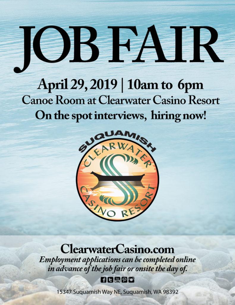 Clearwater Casino Resort APRIL 2019 Jobfair Flyer