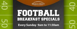 Football Breakfast Specilas at Beach Rock Music & Sports